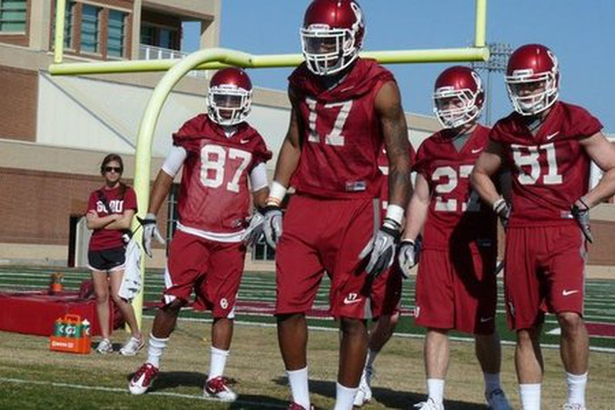 Trey Metoyer (#17) was better than advertised this spring.  (Photo credited to www.soonersports.com)