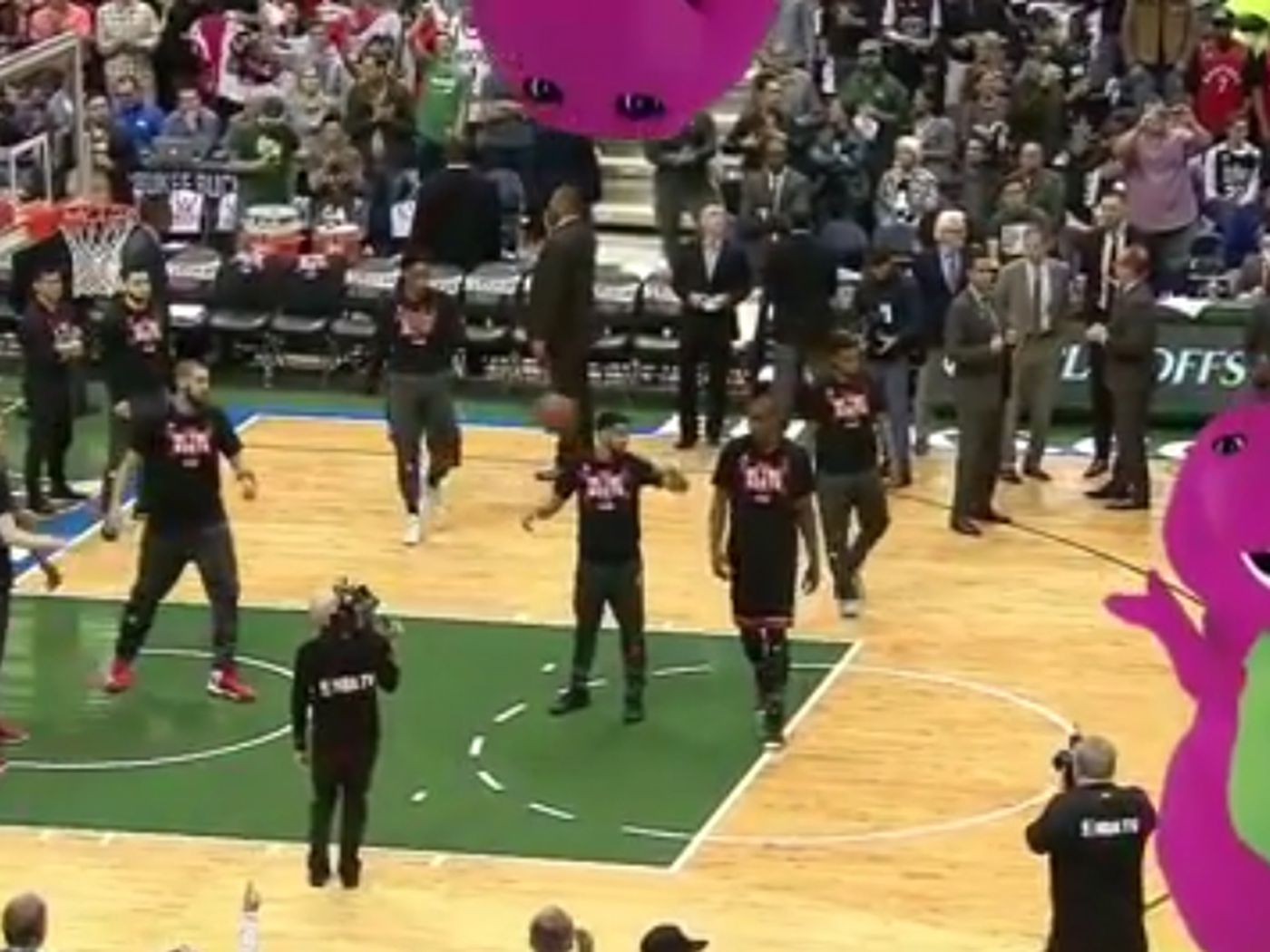 62cdc4173e6 Bucks play Barney theme song during Raptors introductions - SBNation.com