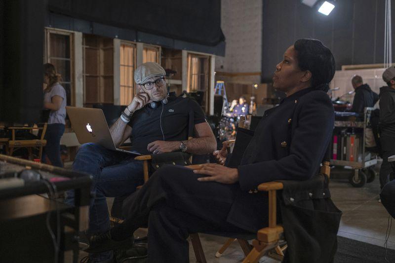 Regina King and Damon Lindelof behind the scenes of Watchmen.