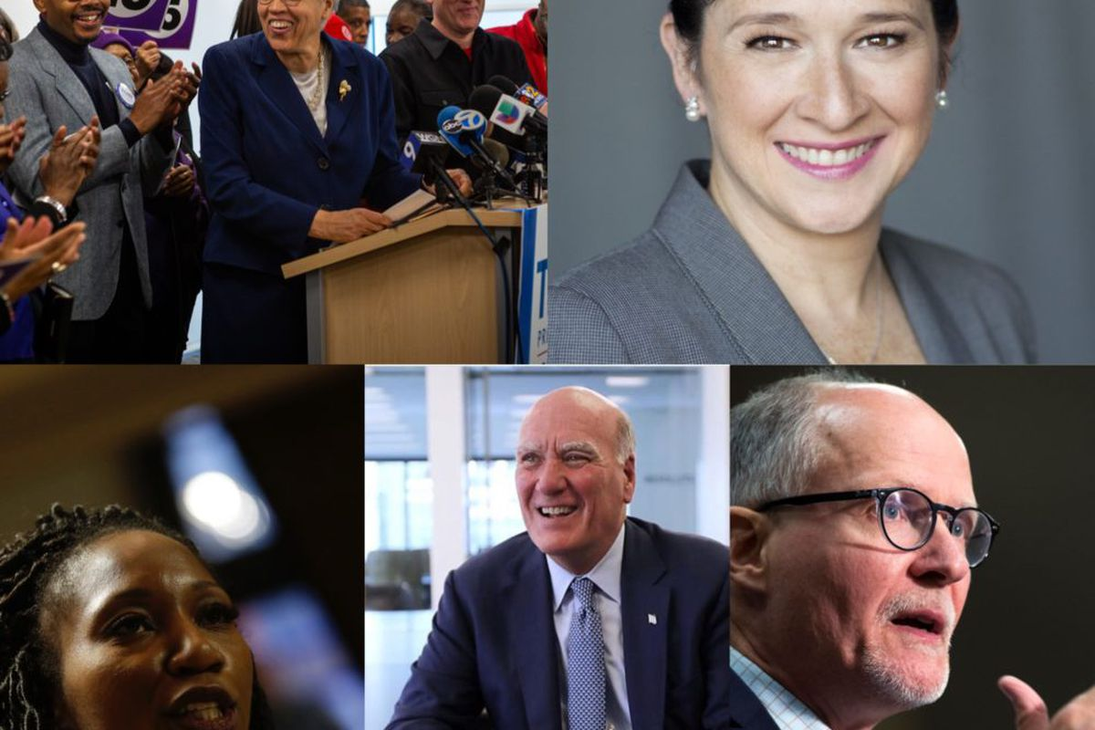 Clockwise from top left, candidates for Chicago mayor Toni Preckwinkle, Susana Mendoza, Paul Vallas, Bill Daley and Amara Enyia.