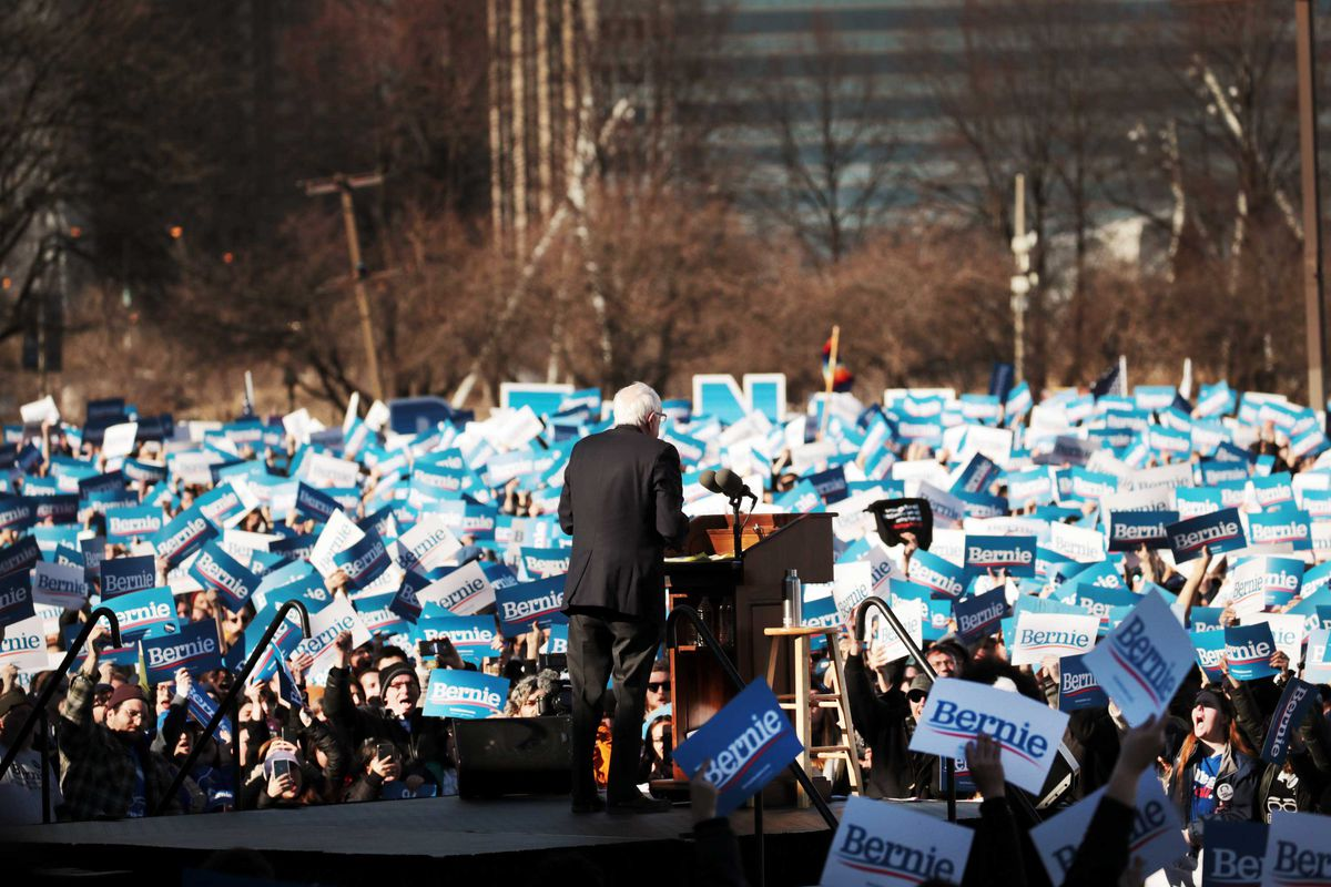 Sanders at a rally in Chicago on March 7, 2020. Sanders's commitment to Medicare-for-all helped push the Democratic Party further to the left on health care. Scott Olson/Getty Images