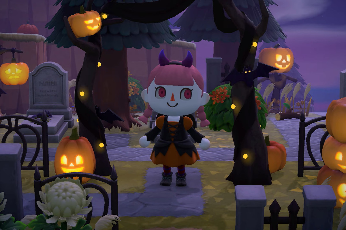 Animal Crossing character in a pumpkin graveyard