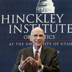 Former Sen. Robert Bennett speaks at his induction ceremony into the Hinckley Institute Hall of Fame at the University of Utah in Salt Lake City on Wednesday, Jan. 27, 2016. The Hinckley Institute of Politics Hall of Fame honors distinguished individuals who have made an outstanding contribution to politics and public service in Utah.