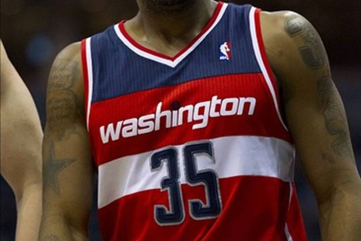 Feb 28, 2012; Milwaukee, WI, USA;  Washington Wizards forward Trevor Booker (35) during the game against the Milwaukee Bucks at the Bradley Center.  The Bucks defeated the Wizards 119-118.  Mandatory Credit: Jeff Hanisch-US PRESSWIRE