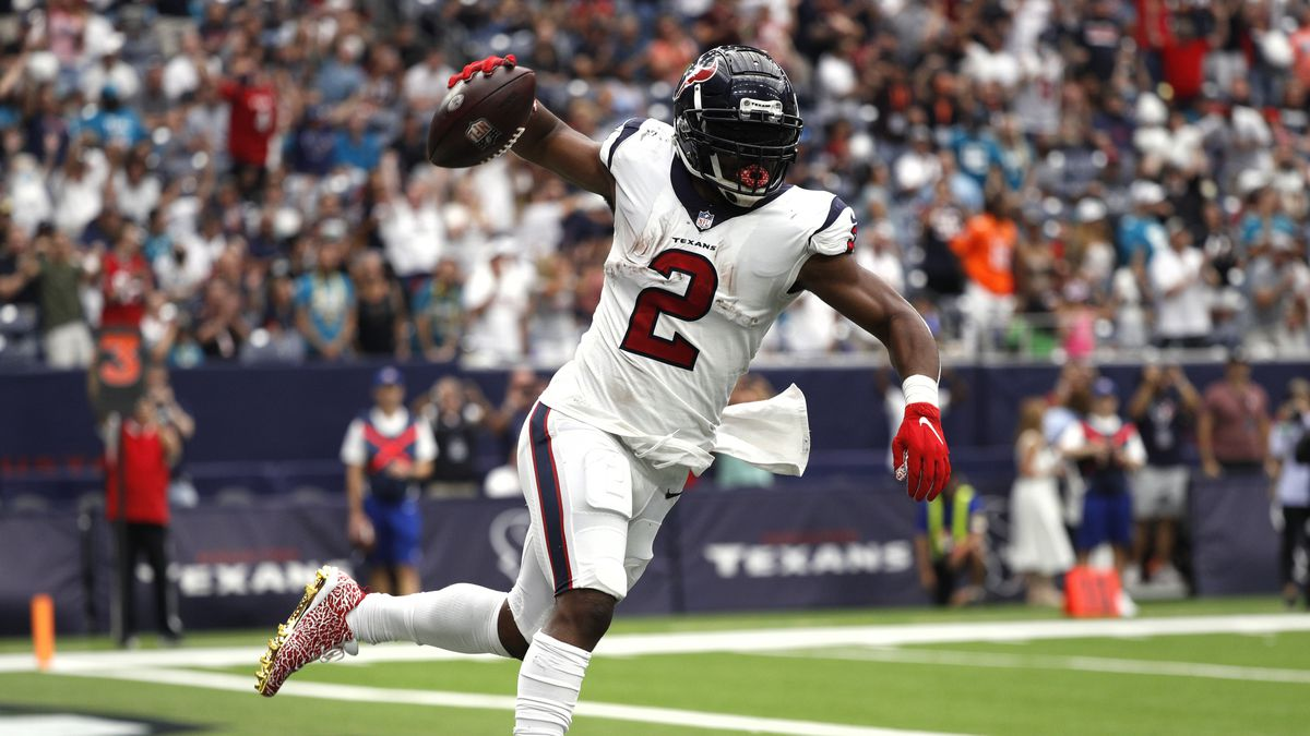 Mark Ingram #2 of the Houston Texans celebrates after a 1-yard touchdown run against the Jacksonville Jaguars during the first quarter at NRG Stadium on September 12, 2021 in Houston, Texas.