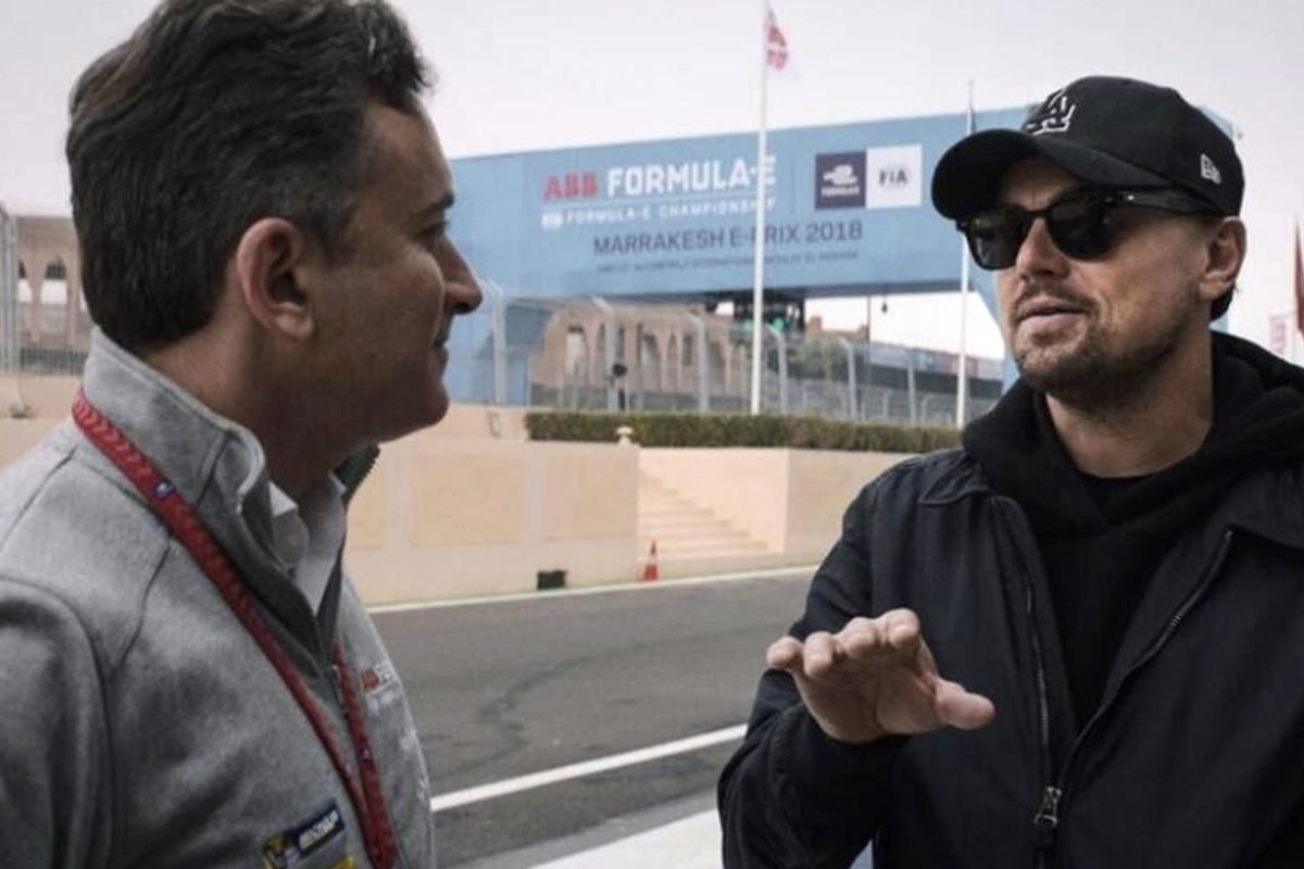 """In this handout provided by Formula E Operations Limited, Alejandro Agag, left, and Leonardo DiCaprio appear in a scene from the film """"And We Go Green."""" (Malcolm Venville, Formula E Operations Limited via AP) ORG XMIT: CAPM103"""