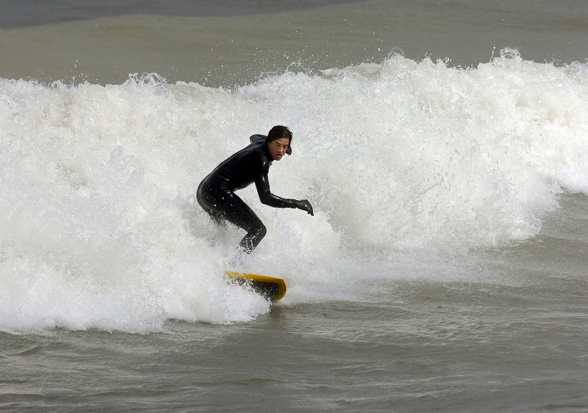 Rex Flodstrom rides a wave on Lake Michigan at Whiting Park in Whiting, Indiana, in 2011. | Sun-Times file photo