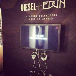 A flatscreen and headphones offered partygoers more info on Diesel + Edun's Studio Africa initiative.