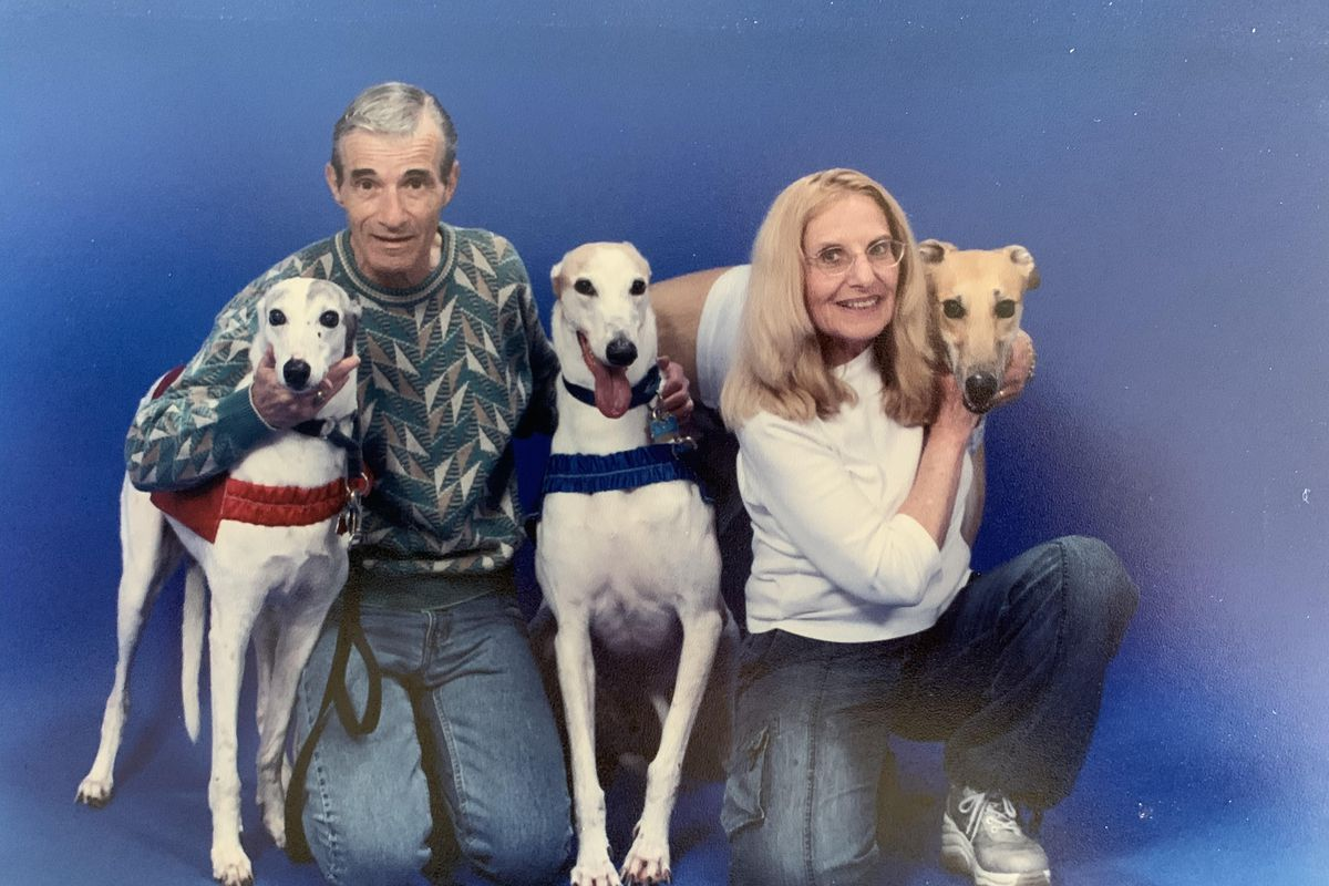 Paul and Toni Schultz with some of the many greyhounds who became part of their household (L-R) Comet, Bear and A.D., short for Artful Dodger.