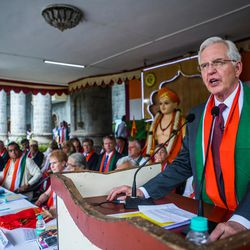 Elder D. Todd Christofferson, a member of the Quorum of Twelve Apostles for The Church of Jesus Christ of Latter-day Saints,  speaks during the 71st Independence Day celebrations at the MIT World Peace University in Pune, Maharashtra, India, on August 15, 2017.