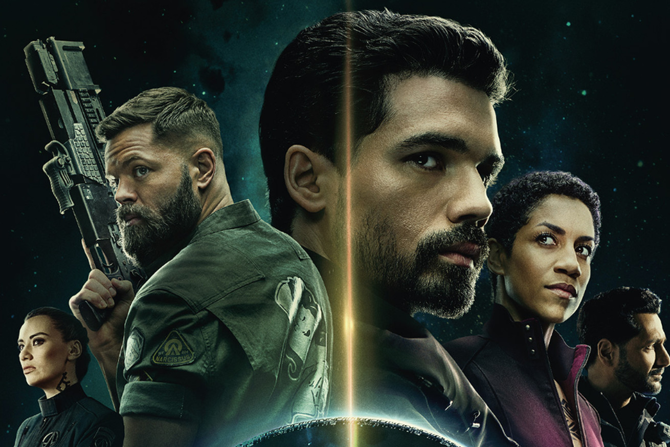 Promotional images for The Expanse, featuring Drummer, Amos, Holden, Naomi, and Alex.