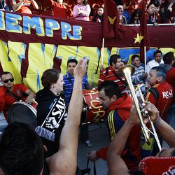 Members of the Real Salt Lake fan club, Union Real shout and sing in preparation for the final game of the CONCACAF championship at Rio Tinto Stadium in Sandy Wednesday, April 27, 2011.