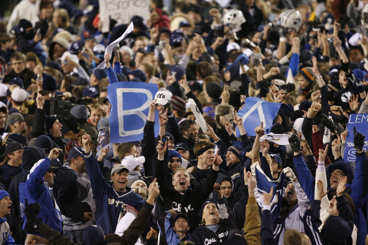 Fans celebrate as Brigham Young University defeated the Oregon Ducks 38-8 in the 2006 Las Vegas Bowl in Las Vegas.