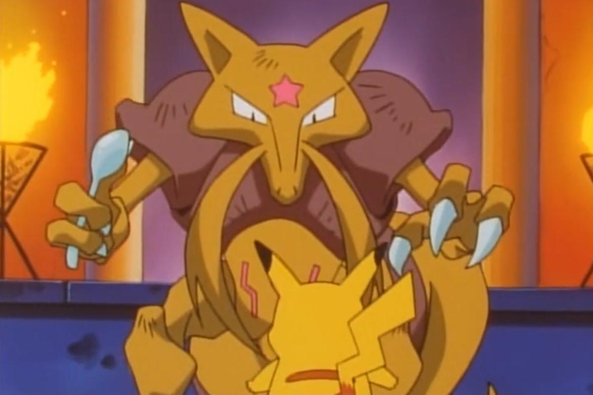 Pikachu standing in front of Kadabra