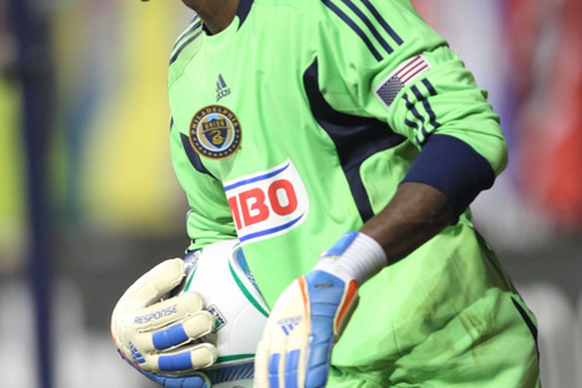 CHESTER, PA - JULY 20: Goalkeeper Thorne Holder #24 of the Philadelphia Union makes a save during a game against Everton at PPL Park on July 20, 2011 in Chester, Pennsylvania. The Union won 1-0.  (Photo by Hunter Martin/Getty Images)