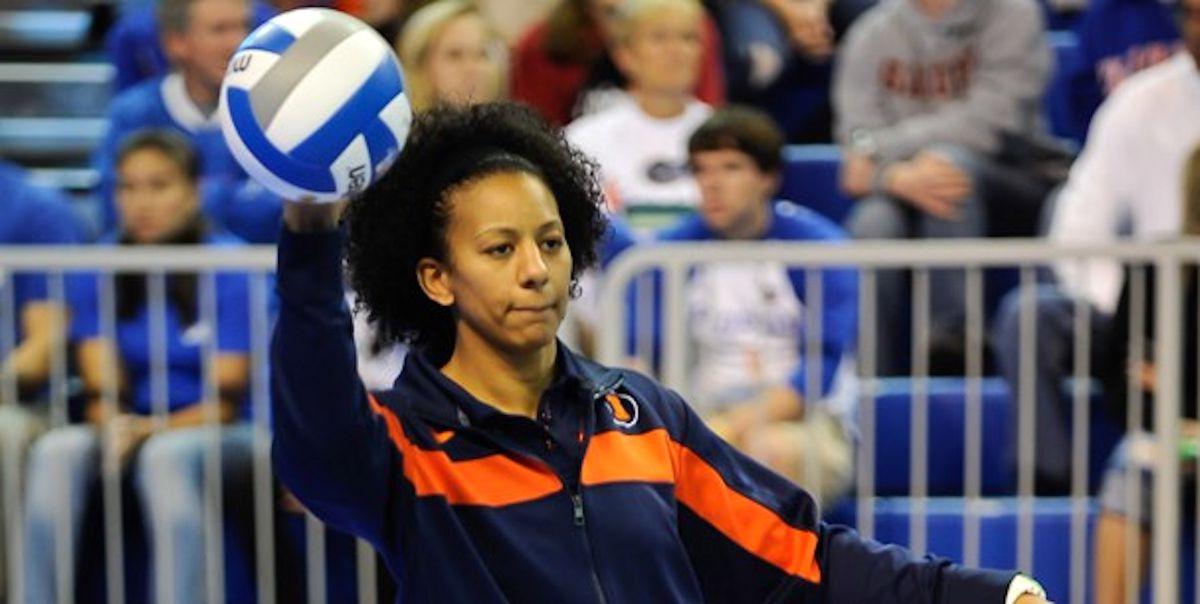Jen Fry holds a ball