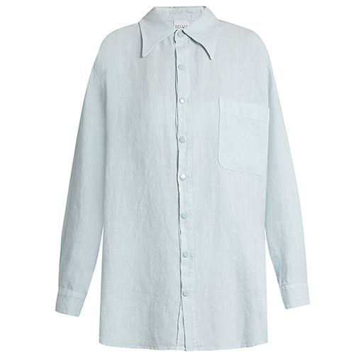 Roxana Salehoun oversized blue lined shirt