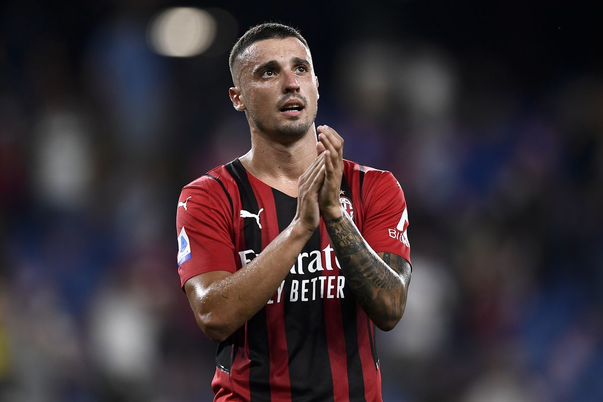 Rade Krunic of AC Milan greets the fans at the end of the...