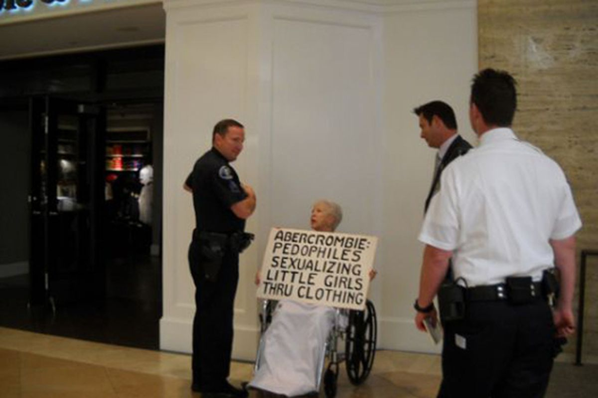 """Last week was the machete rampage; this week, it's a cantankerous octogenarian. What's in the water at South Coast Plaza? Image via <a href=""""http://retail.ocregister.com/2011/03/30/woman-cited-for-abercrombie-bikini-protest-at-south-coast-plaza/4735"""