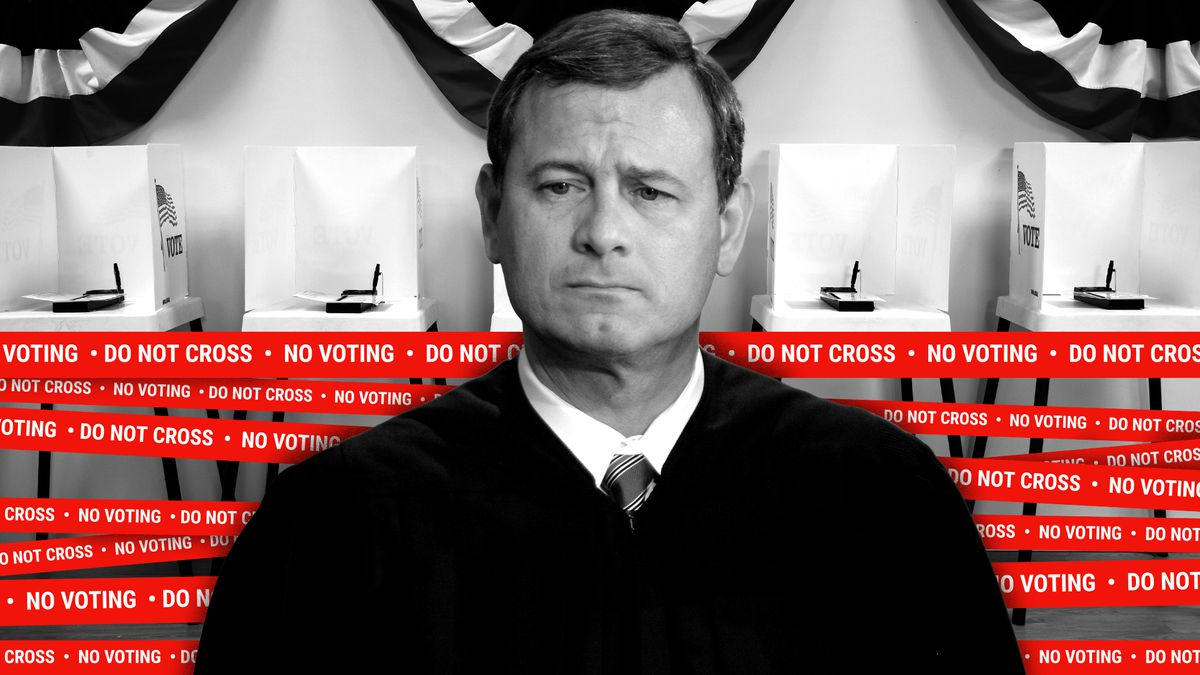 """Chief Justice Roberts standing in front of a polling place. The polling place is wrapped in tape that reads """"Do Not Cross. No Voting."""""""