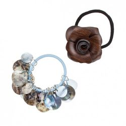 Shell Ponytail Holder in Turquoise $5.99. Also available in cream and coral, Wood Rose Ponytail Holder $5.99