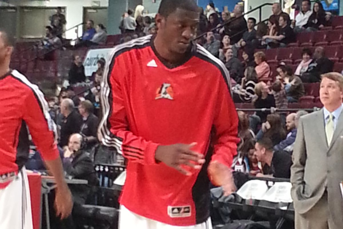 Solomon Alabi in his first game for the Idaho Stampede