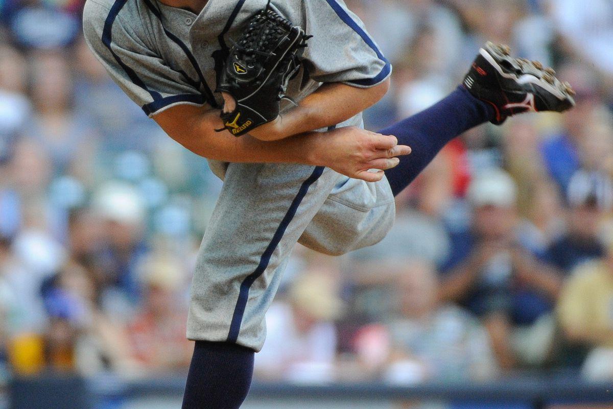 July 28, 2012; Milwaukee, WI, USA; Washington Nationals pitcher Jordan Zimmermann (27) pitches against the Milwaukee Brewers at Miller Park.  Mandatory Credit: Benny Sieu-US PRESSWIRE