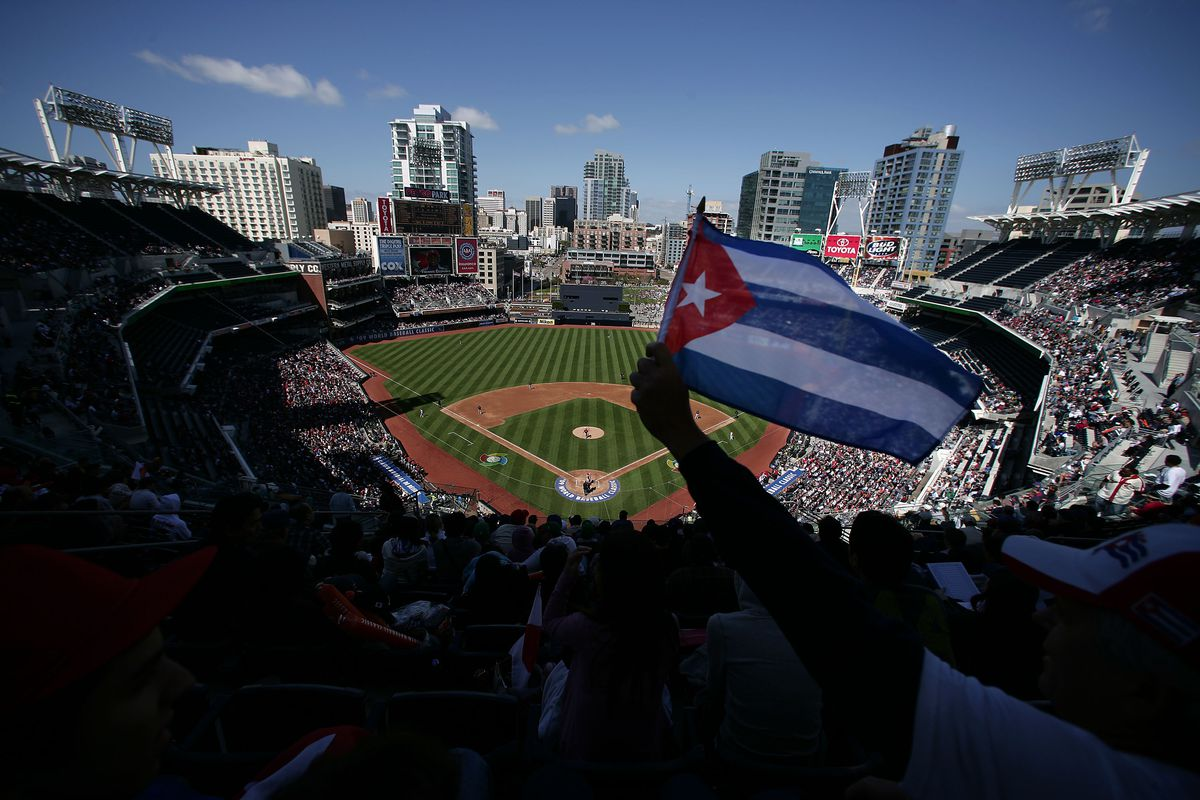 A Cuban flag on display at Petco Park in San Diego during the 2009 World Baseball Classic