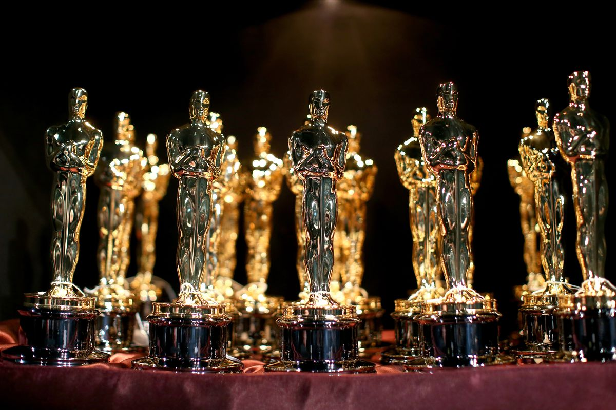 A general view of Oscar Statuettes backstage during the 87th Annual Academy Awards at Dolby Theatre on February 22, 2015 in Hollywood, California.