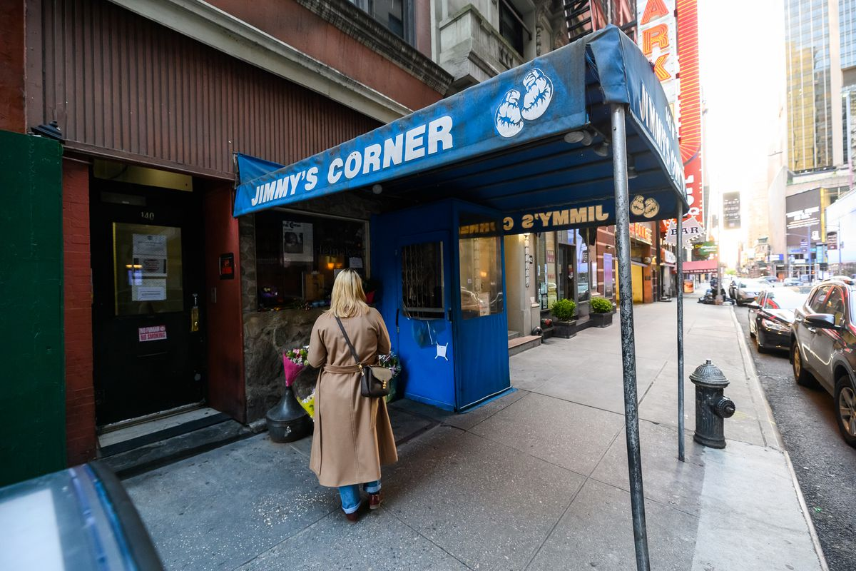 An exterior view of Jimmy's Corner during the COVID-19 pandemic in NYC. Jimmy's Corner owner Jimmy Glen passed away on May 7.