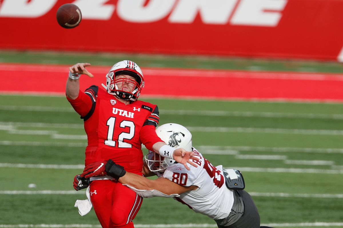 Utah Utes quarterback Drew Lisk (12) makes a pass during an NCAA football game at Rice-Eccles Stadium in Salt Lake City on Saturday, Dec. 19, 2020.