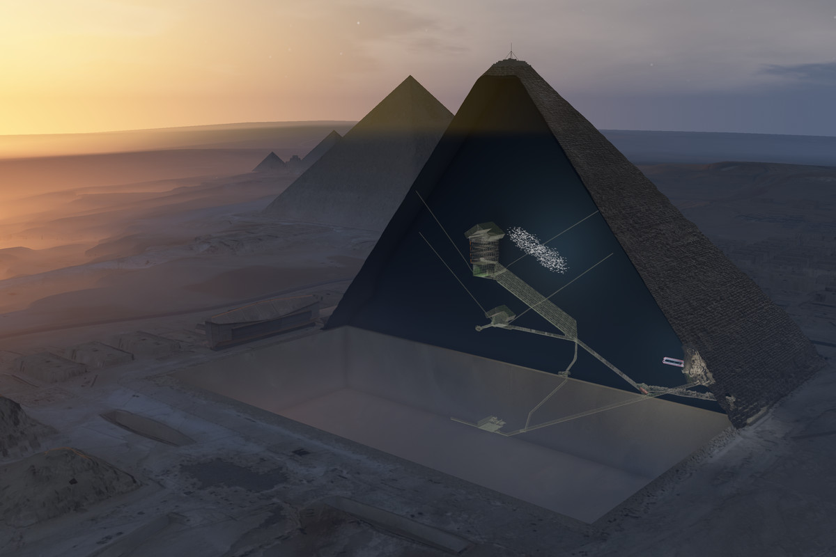 Subatomic particles reveal a mysterious structure inside Giza\'s ...