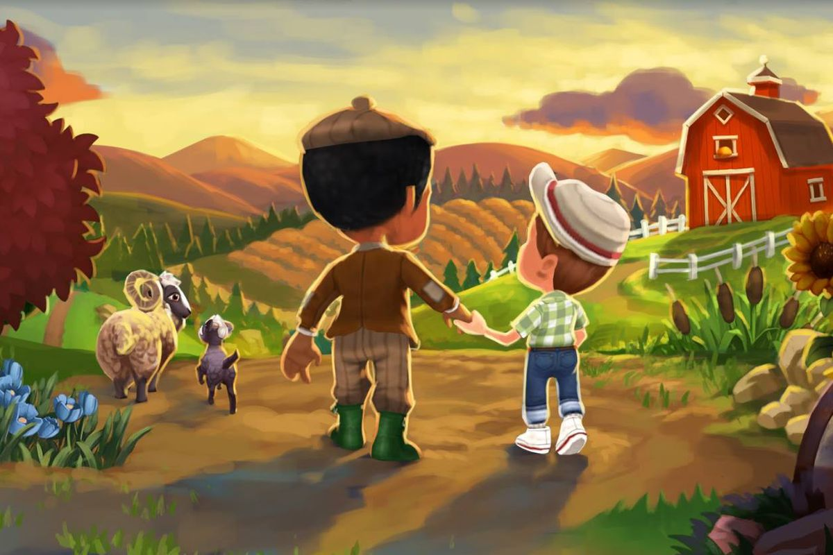 Two cartoon figures hold hands while gazing out at fields of plenty in Farmville.