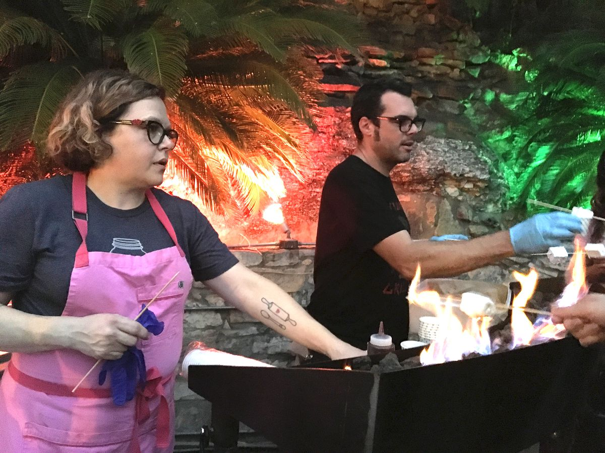 Rebecca Masson and Aaron Franklin working the s'mores line at Mohawk
