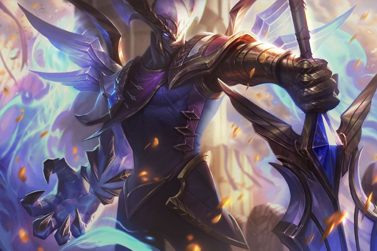 Victorious Aatrox poses holding the hilt of his sword
