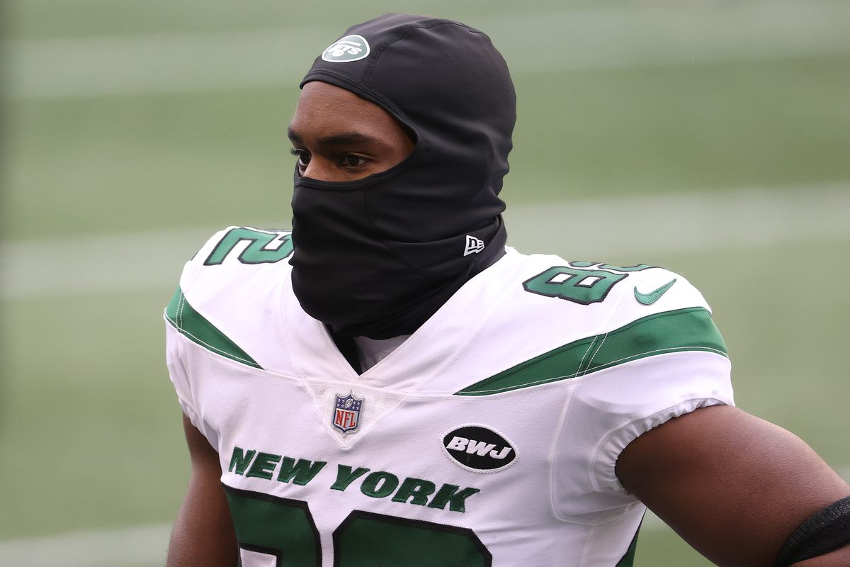 Jamison Crowder #82 of the New York Jets looks on before their game against the Seattle Seahawks at CenturyLink Field on December 13, 2020 in Seattle, Washington.