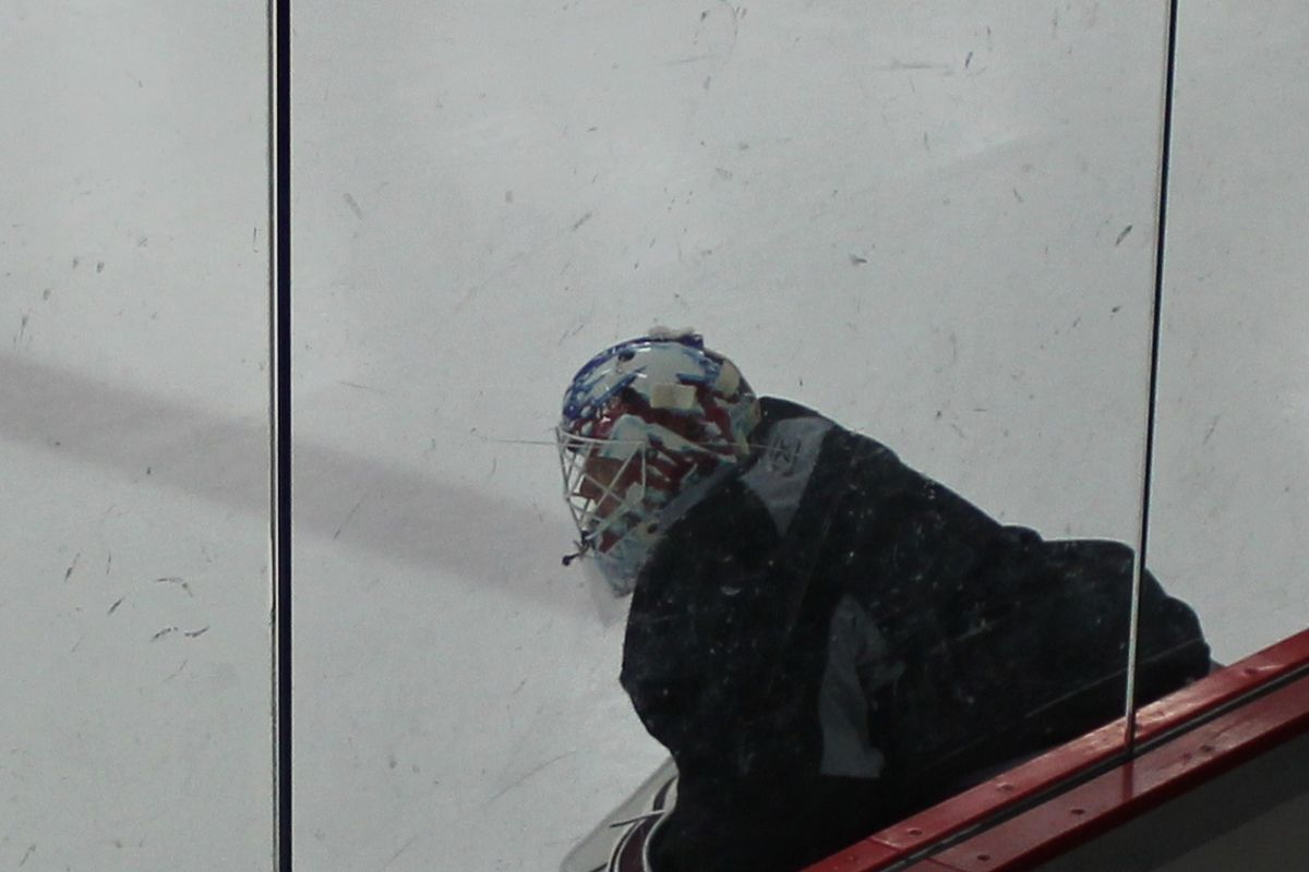 Jean-Sebastien Giguere sporting a new mask during an Avalanche practice on 2-29-12.