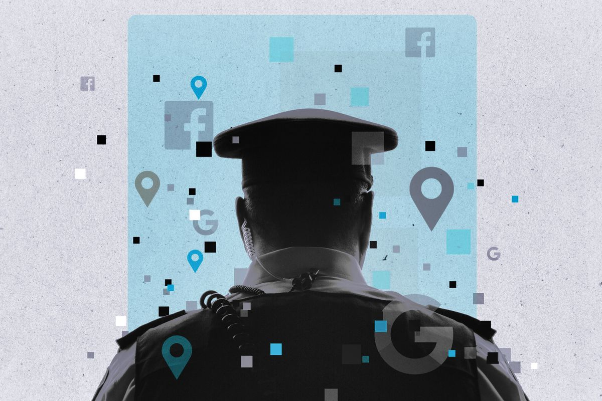 Illustration of the back of a police officer's head with icons for Google, Facebook, and map points floating around.