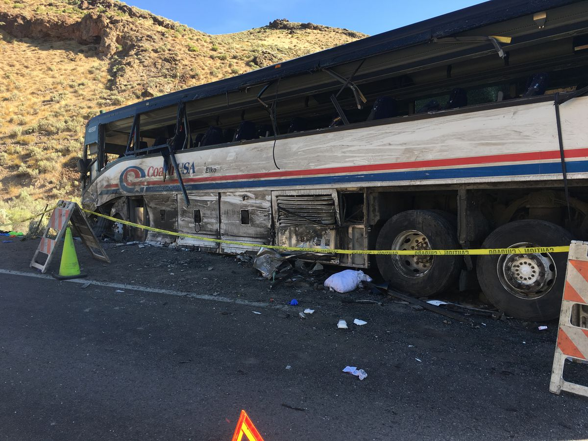 A bus carrying mine employees collided head-on with a tractor-trailer rig Saturday, Aug. 24, 2019, near Carlin, Nevada, killing two people and injuring others, the Nevada Highway Patrol said.