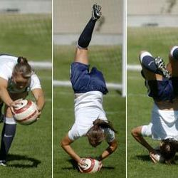 BYU soccer player Brooke Thulin demonstrates how the somersault element in the throw is key to catapulting the ball further.