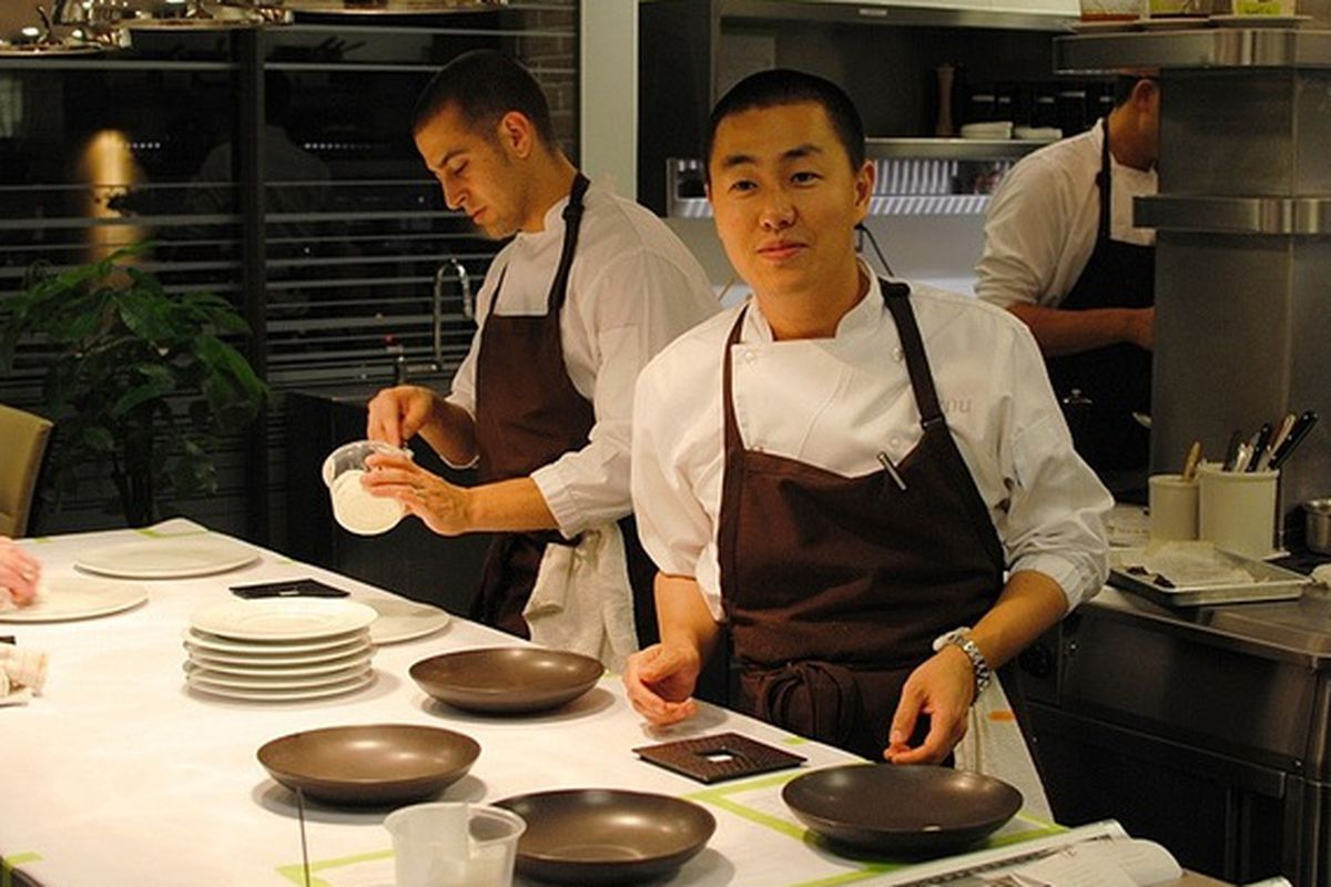 Chef Corey Lee in the kitchen at Benu.