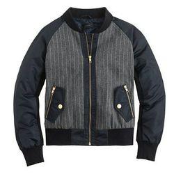 """J. Crew pinstripe jacket, <a href=""""https://www.jcrew.com/womens_category/outerwear/wool/PRDOVR~B2861/B2861.jsp"""">$198</a>"""