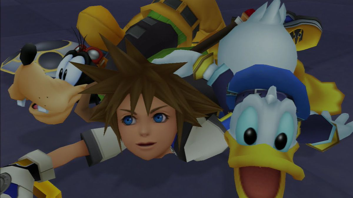 Goofy, Sora, and Donald lying on the ground in Kingdom Hearts.