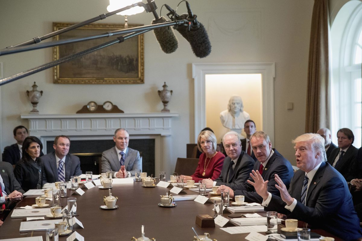 President Donald Trump speaks during a meeting with his Cabinet in the Cabinet Room of the White House in Washington, Monday, March 13, 2017. Clockwise, from left are, US Ambassador Nikki Haley, Budget Director Mick Mulvaney, EPA Administrator Greg Pruitt
