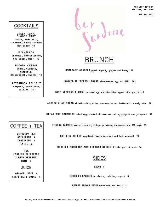 bar sardine brunch menu