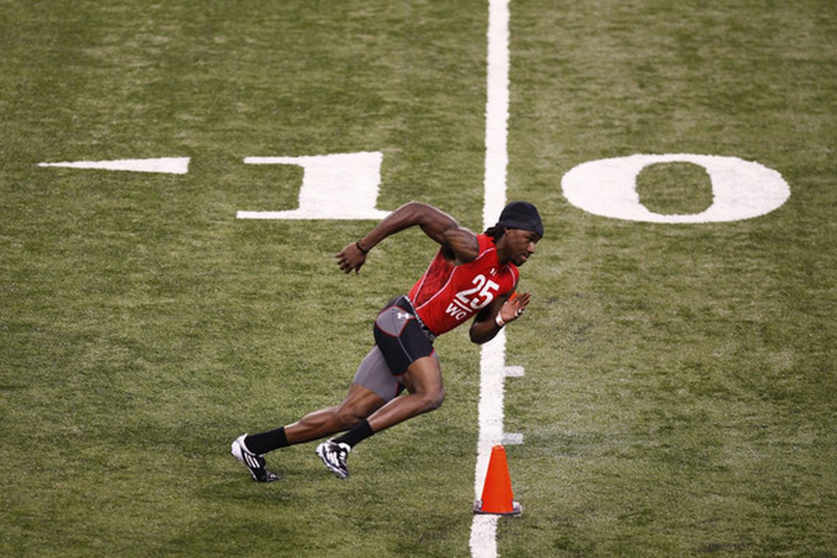 INDIANAPOLIS, IN - FEBRUARY 27: Wide receiver Denarius Moore of Tennessee runs a drill during the 2011 NFL Scouting Combine at Lucas Oil Stadium on February 27, 2011 in Indianapolis, Indiana. (Photo by Joe Robbins/Getty Images)
