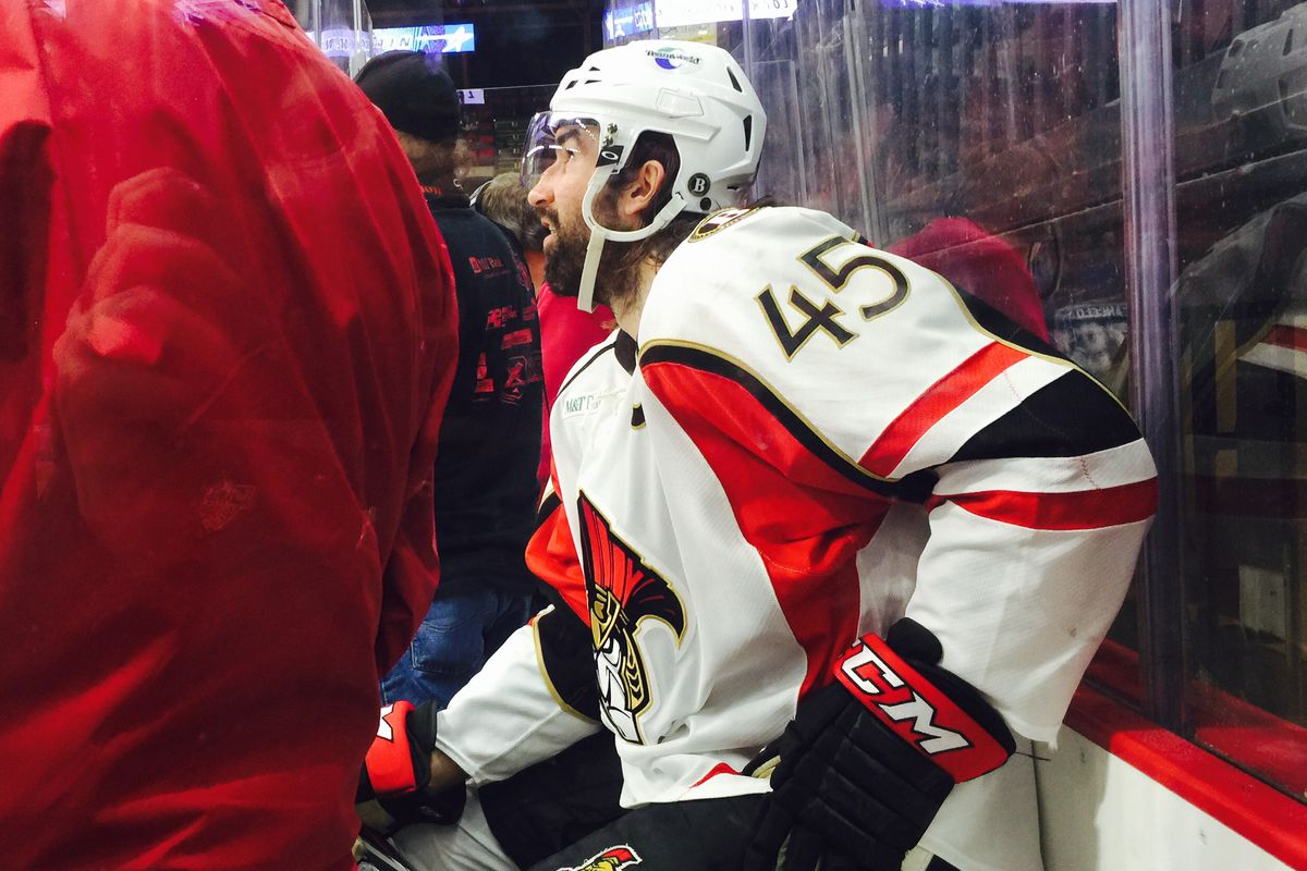 In familar fassion, Zack Stortini sits serving a penality in a recent BSens game.