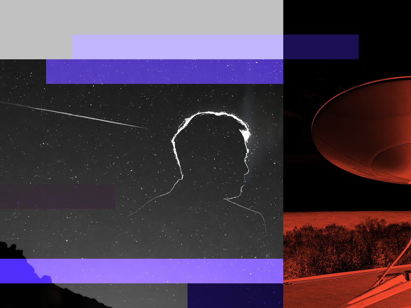 A photo-illustration of Elon Musk in silhouette in front of a night sky with a streak of light and beside a satellite dish.