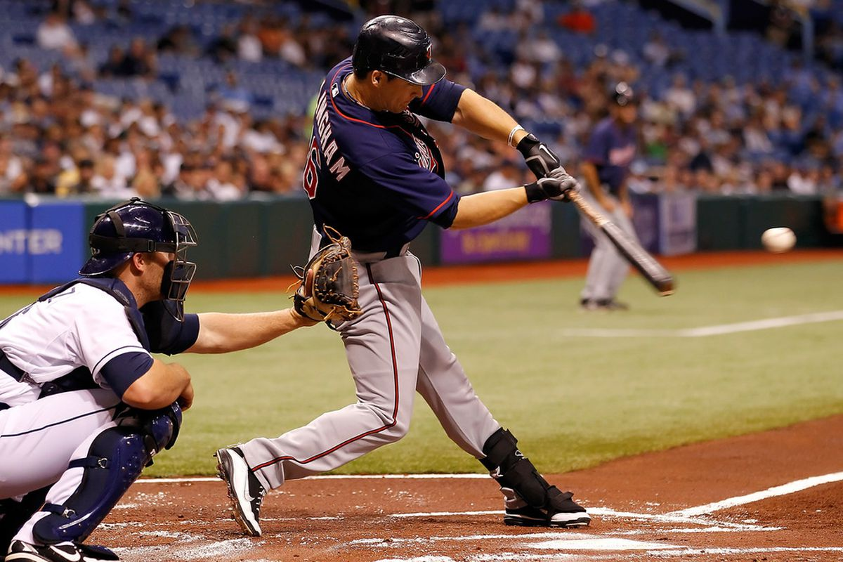 ST. PETERSBURG - APRIL 20:  Outfielder Josh Willingham #16 of the Minnesota Twins fouls off a pitch against the Tampa Bay Rays during the game at Tropicana Field on April 20, 2012 in St. Petersburg, Florida.  (Photo by J. Meric/Getty Images)