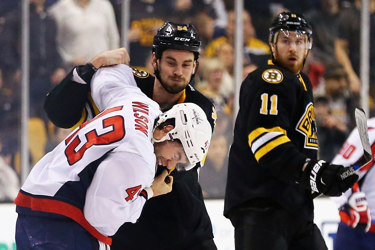 Adam McQuaid Tunes Up Tom Wilson As Jimmy Hayes Looks On In Surprise Maddie Meyer Getty Images